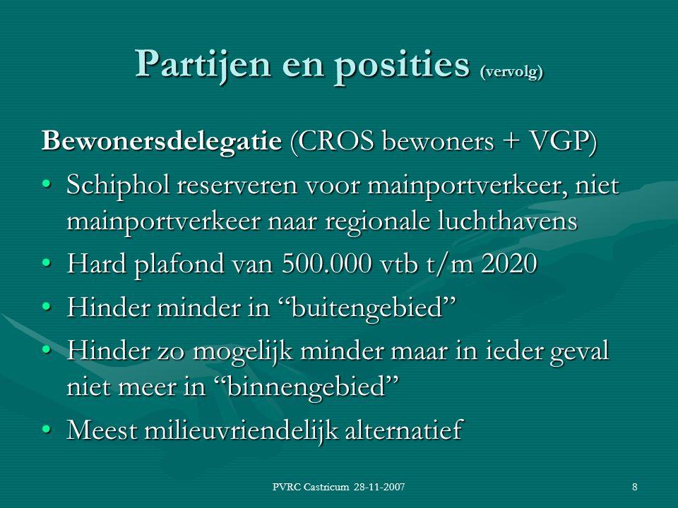 PVRC Castricum 28-11-20078 Partijen en posities (vervolg) Bewonersdelegatie (CROS bewoners + VGP) Schiphol reserveren voor mainportverkeer, niet mainportverkeer naar regionale luchthavensSchiphol reserveren voor mainportverkeer, niet mainportverkeer naar regionale luchthavens Hard plafond van 500.000 vtb t/m 2020Hard plafond van 500.000 vtb t/m 2020 Hinder minder in buitengebied Hinder minder in buitengebied Hinder zo mogelijk minder maar in ieder geval niet meer in binnengebied Hinder zo mogelijk minder maar in ieder geval niet meer in binnengebied Meest milieuvriendelijk alternatiefMeest milieuvriendelijk alternatief
