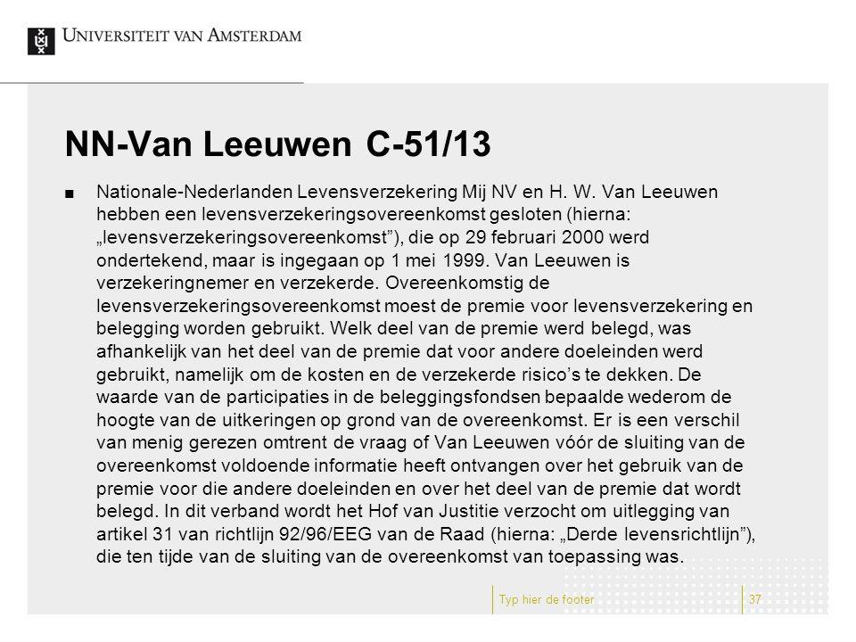 NN-Van Leeuwen C-51/13 Nationale-Nederlanden Levensverzekering Mij NV en H. W. Van Leeuwen hebben een levensverzekeringsovereenkomst gesloten (hierna: