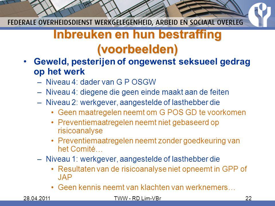 28.04.2011TWW - RD Lim-VBr22 Inbreuken en hun bestraffing (voorbeelden) Geweld, pesterijen of ongewenst seksueel gedrag op het werk –Niveau 4: dader van G P OSGW –Niveau 4: diegene die geen einde maakt aan de feiten –Niveau 2: werkgever, aangestelde of lasthebber die Geen maatregelen neemt om G POS GD te voorkomen Preventiemaatregelen neemt niet gebaseerd op risicoanalyse Preventiemaatregelen neemt zonder goedkeuring van het Comité… –Niveau 1: werkgever, aangestelde of lasthebber die Resultaten van de risicoanalyse niet opneemt in GPP of JAP Geen kennis neemt van klachten van werknemers…