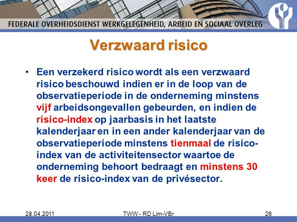 28.04.2011TWW - RD Lim-VBr26 Verzwaard risico Een verzekerd risico wordt als een verzwaard risico beschouwd indien er in de loop van de observatieperi