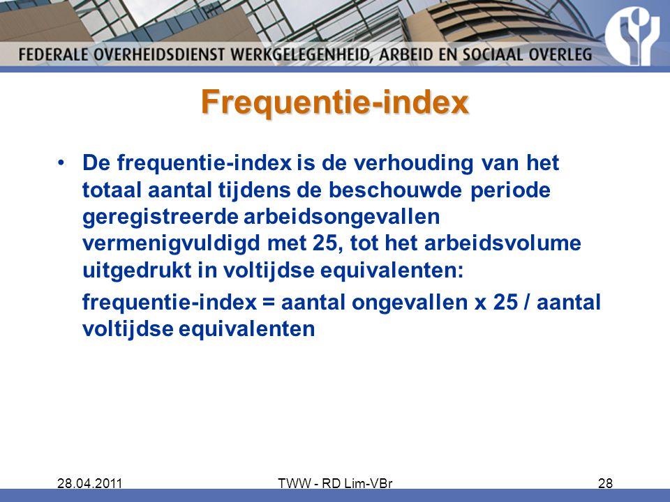 28.04.2011TWW - RD Lim-VBr28 Frequentie-index De frequentie-index is de verhouding van het totaal aantal tijdens de beschouwde periode geregistreerde arbeidsongevallen vermenigvuldigd met 25, tot het arbeidsvolume uitgedrukt in voltijdse equivalenten: frequentie-index = aantal ongevallen x 25 / aantal voltijdse equivalenten