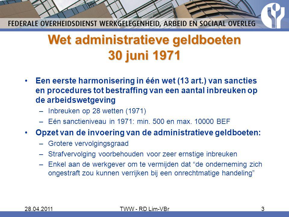 28.04.2011TWW - RD Lim-VBr3 Wet administratieve geldboeten 30 juni 1971 Een eerste harmonisering in één wet (13 art.) van sancties en procedures tot b