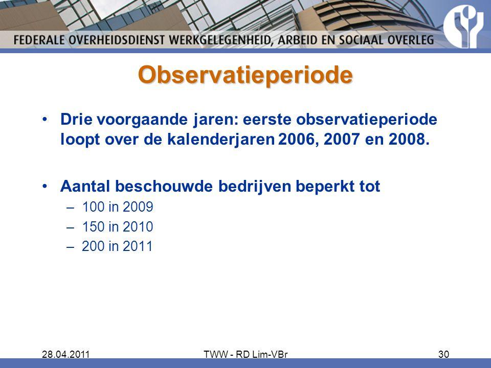 28.04.2011TWW - RD Lim-VBr30 Observatieperiode Drie voorgaande jaren: eerste observatieperiode loopt over de kalenderjaren 2006, 2007 en 2008.