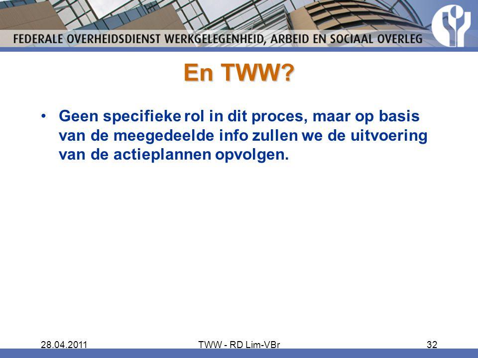 28.04.2011TWW - RD Lim-VBr32 En TWW? Geen specifieke rol in dit proces, maar op basis van de meegedeelde info zullen we de uitvoering van de actieplan
