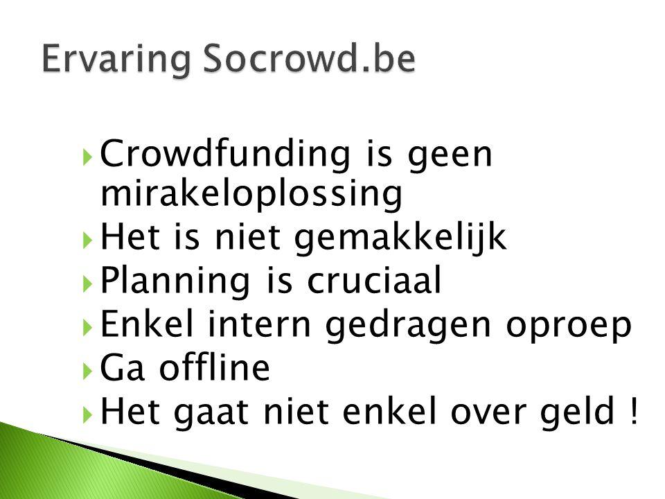  Crowdfunding is geen mirakeloplossing  Het is niet gemakkelijk  Planning is cruciaal  Enkel intern gedragen oproep  Ga offline  Het gaat niet enkel over geld !