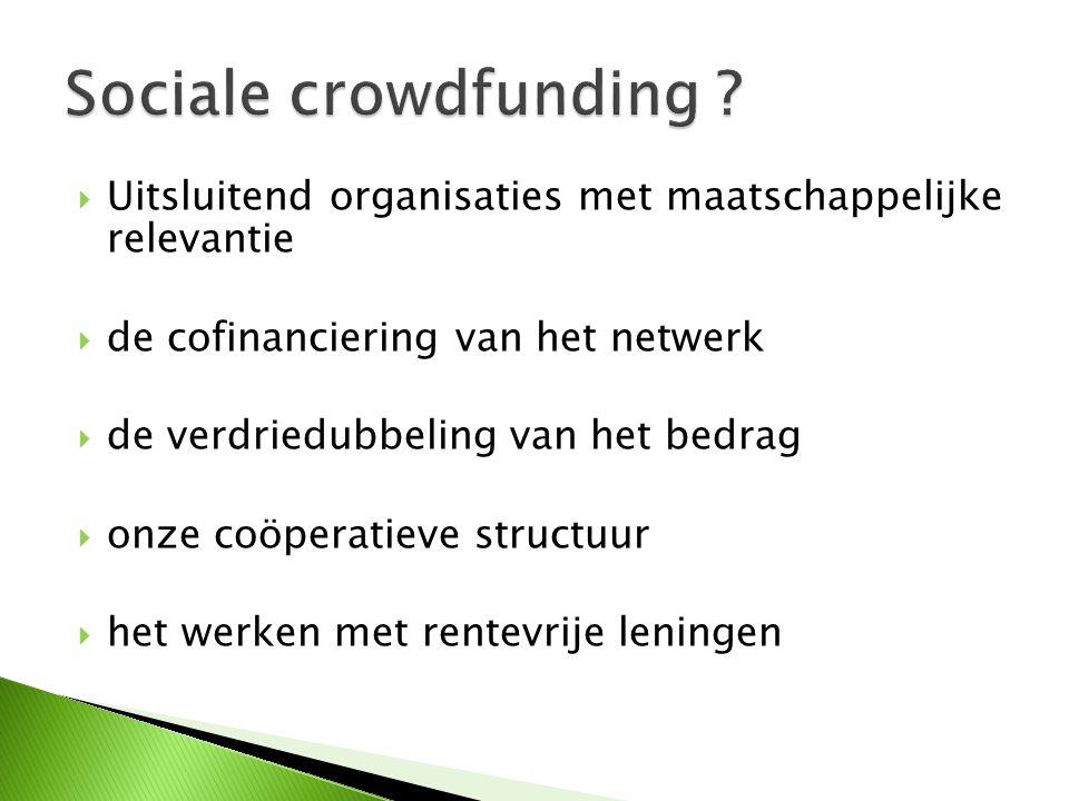  Uitsluitend organisaties met maatschappelijke relevantie  de cofinanciering van het netwerk  de verdriedubbeling van het bedrag  onze coöperatieve structuur  het werken met rentevrije leningen