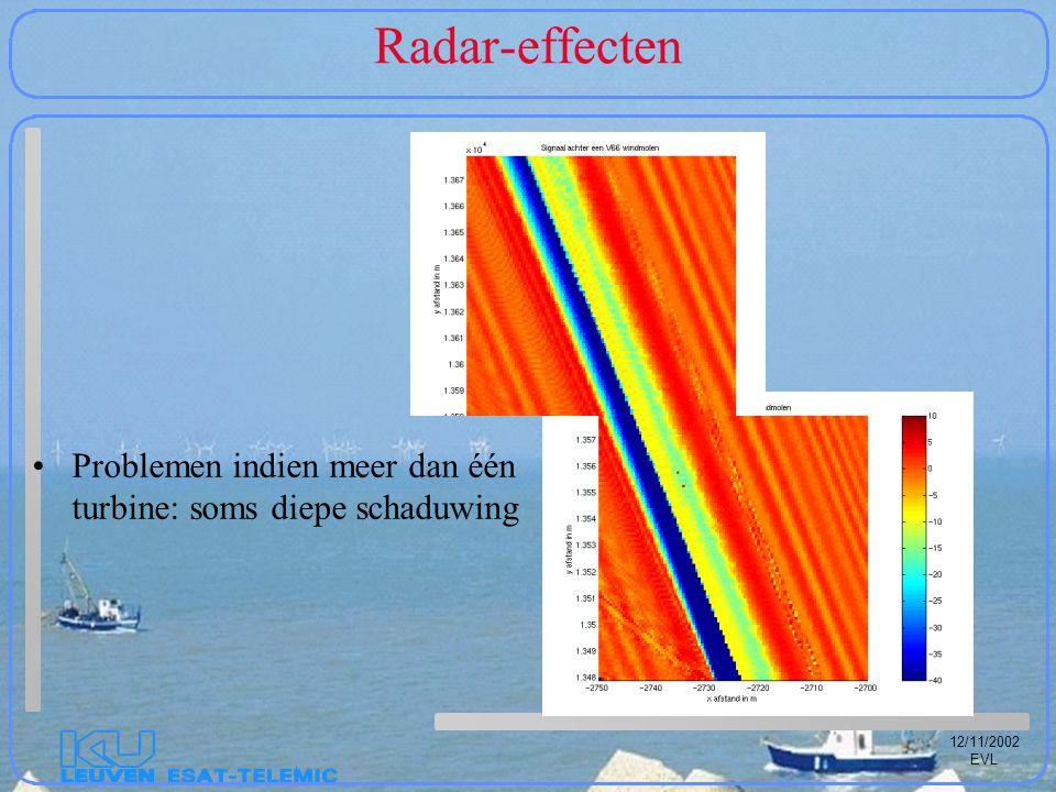 12/11/2002 EVL Radar-effecten Problemen indien meer dan één turbine: soms diepe schaduwing