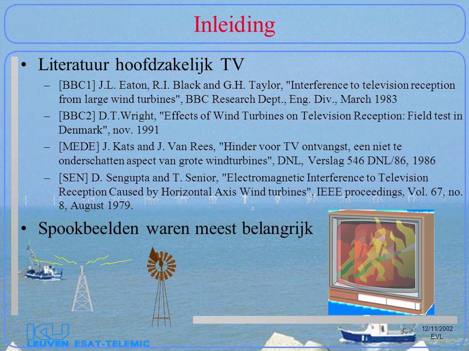 12/11/2002 EVL Radar-effecten EPICS-GO gebaseerd op klassieke GO-UTD Gegevens: één windtubine in (0,-900 m) radar in (0,0)