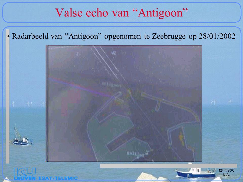 """12/11/2002 EVL Valse echo van """"Antigoon"""" Radarbeeld van """"Antigoon"""" opgenomen te Zeebrugge op 28/01/2002"""