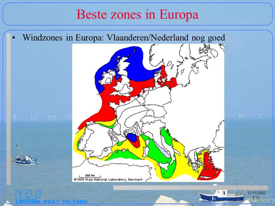 12/11/2002 EVL Beste zones in Europa Windzones in Europa: Vlaanderen/Nederland nog goed