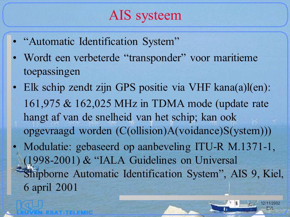 12/11/2002 EVL AIS systeem Automatic Identification System Wordt een verbeterde transponder voor maritieme toepassingen Elk schip zendt zijn GPS positie via VHF kana(a)l(en): 161,975 & 162,025 MHz in TDMA mode (update rate hangt af van de snelheid van het schip; kan ook opgevraagd worden (C(ollision)A(voidance)S(ystem))) Modulatie: gebaseerd op aanbeveling ITU-R M.1371-1, (1998-2001) & IALA Guidelines on Universal Shipborne Automatic Identification System , AIS 9, Kiel, 6 april 2001