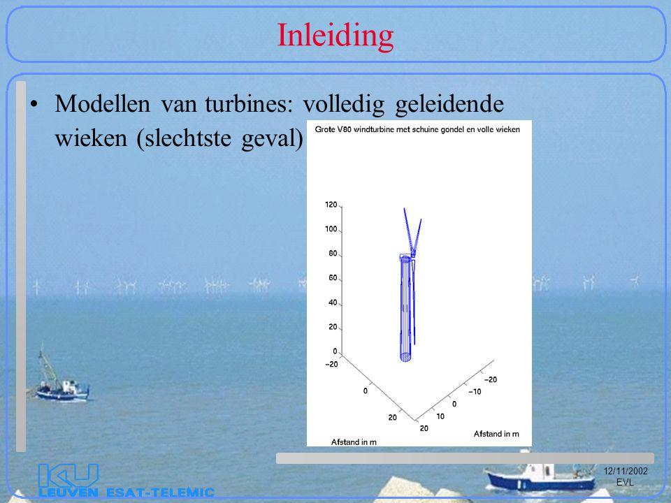 12/11/2002 EVL Inleiding Modellen van turbines: volledig geleidende wieken (slechtste geval)