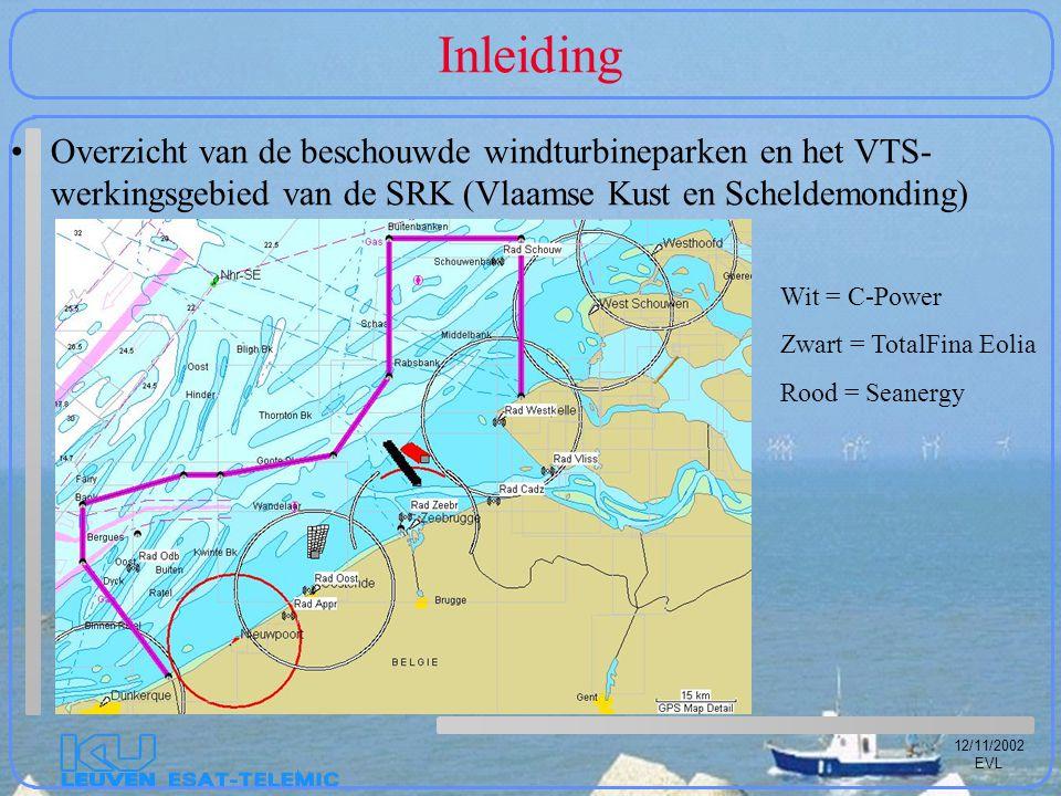 12/11/2002 EVL Inleiding Overzicht van de beschouwde windturbineparken en het VTS- werkingsgebied van de SRK (Vlaamse Kust en Scheldemonding) Wit = C-Power Zwart = TotalFina Eolia Rood = Seanergy