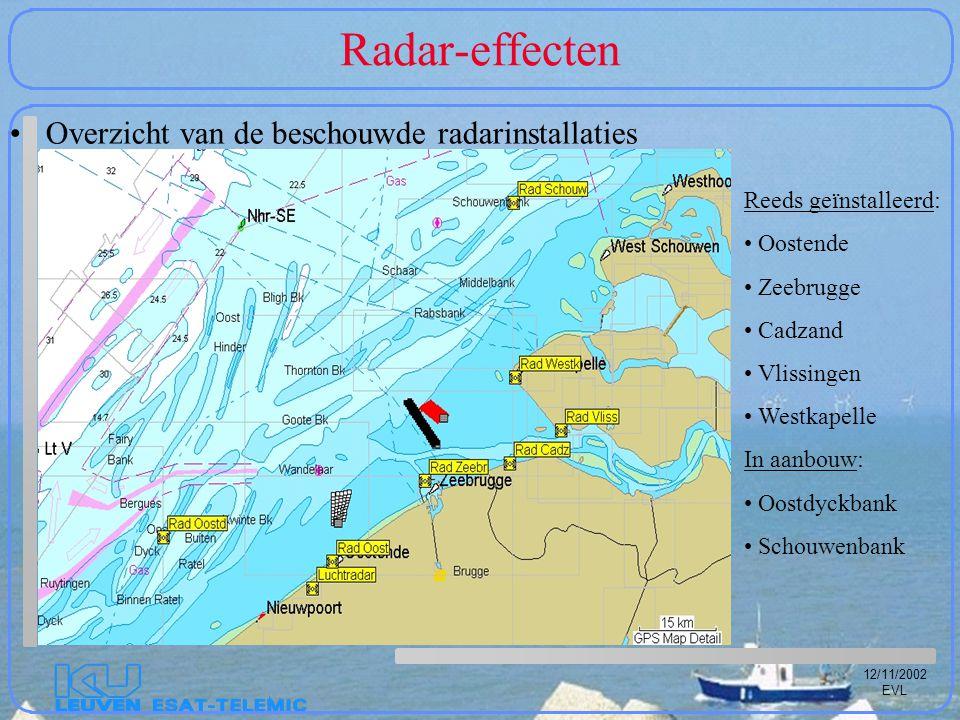 12/11/2002 EVL Radar-effecten Overzicht van de beschouwde radarinstallaties Reeds geïnstalleerd: Oostende Zeebrugge Cadzand Vlissingen Westkapelle In aanbouw: Oostdyckbank Schouwenbank