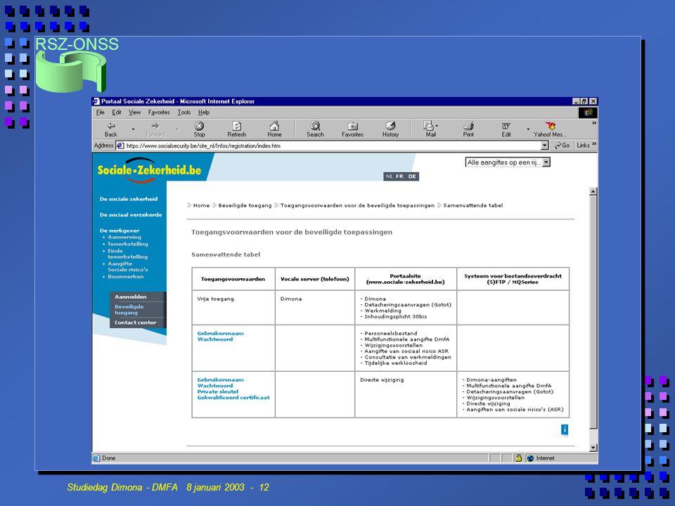 RSZ-ONSS Studiedag Dimona - DMFA 8 januari 2003 - 12