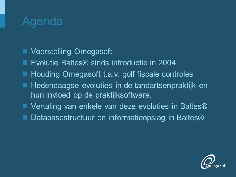 Voorstelling van Omegasoft OmegaSoft: –Toonaangevend in medische informatica –Actief naar tandartsen, artsen, apothekers, oogartsen, dierenartsen, rusthuizen, opticiens, kinesisten en verpleegsters –Informatisering van 10.000 locaties –243 medewerkers Dentale divisie (Vlaanderen) –6 helpdesk/support medewerkers (2 in 2005) –5 programmeurs/analysten (2 in 2005) –6 techniekers (3 in 2005) –+ centrale administratieve diensten en management Veerle Van Damme –Tandarts consultant Guy Sneyers –ir, project leider Dentaal