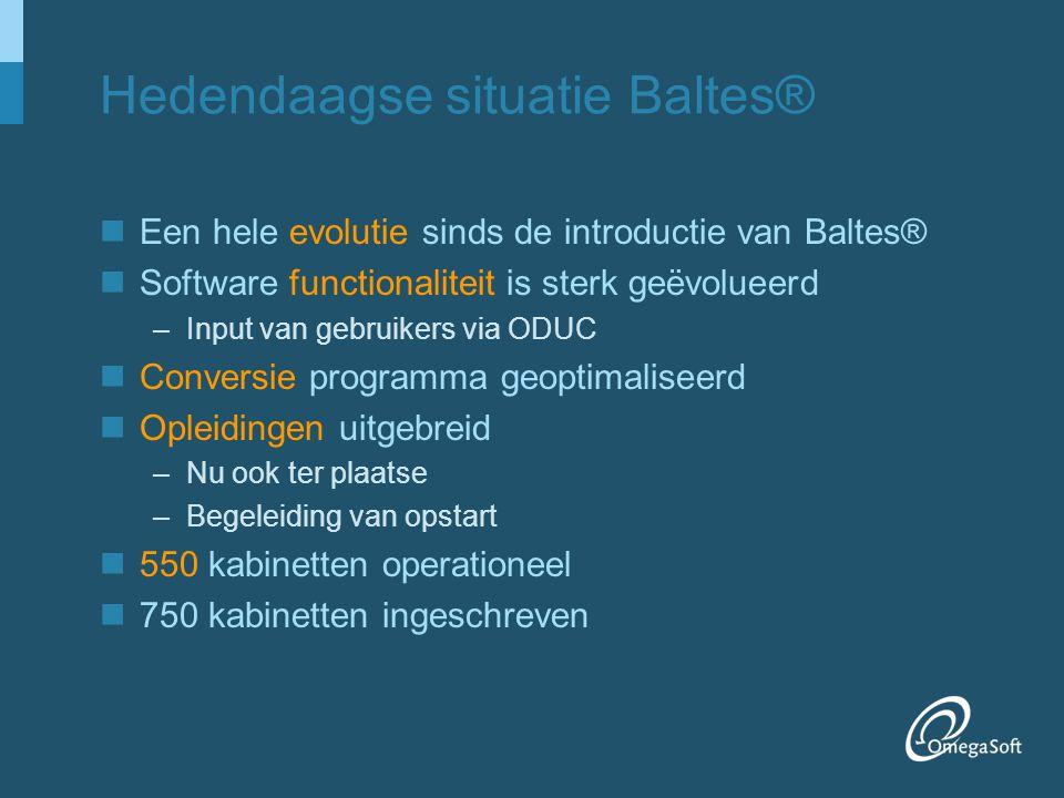 Hedendaagse situatie Baltes® Een hele evolutie sinds de introductie van Baltes® Software functionaliteit is sterk geëvolueerd –Input van gebruikers vi