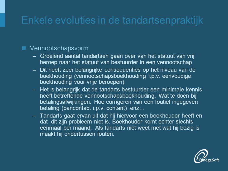 Enkele evoluties in tandartsenpraktijk 2 Betaalwijze –Eurocheque bestaat niet meer, gewone cheque privaat zo goed als niet gebruikt.