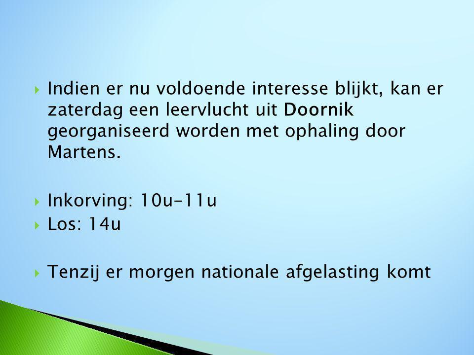  Indien er nu voldoende interesse blijkt, kan er zaterdag een leervlucht uit Doornik georganiseerd worden met ophaling door Martens.
