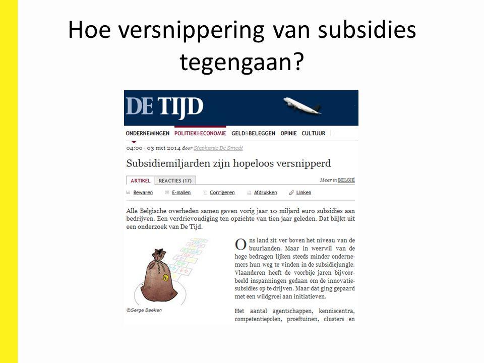 Hoe versnippering van subsidies tegengaan?
