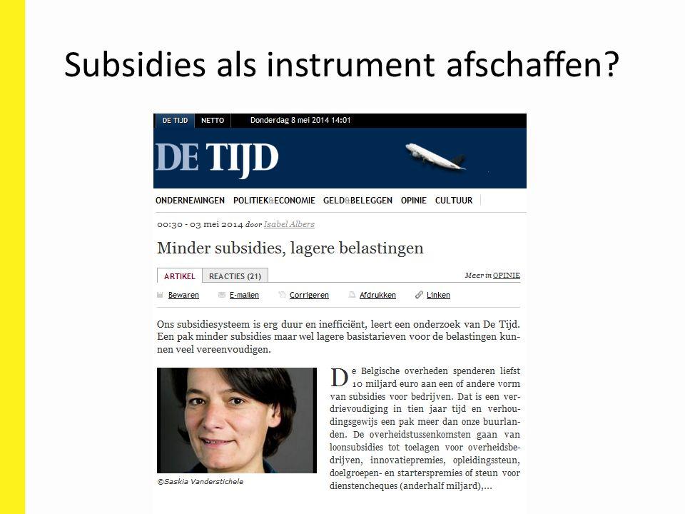 Subsidies als instrument afschaffen?