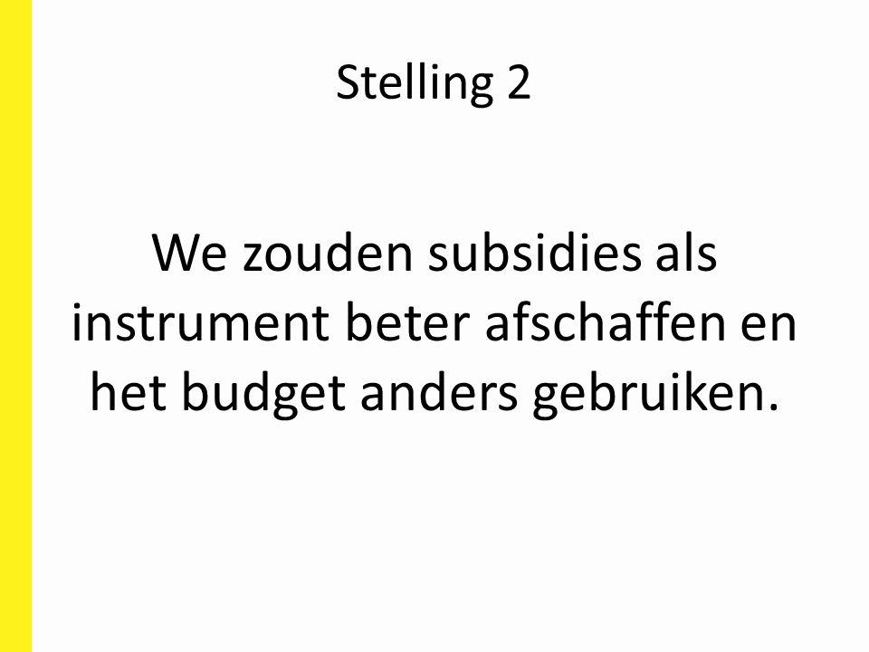 Stelling 2 We zouden subsidies als instrument beter afschaffen en het budget anders gebruiken.