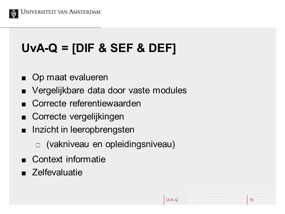 UvA-Q = [DIF & SEF & DEF] Op maat evalueren Vergelijkbare data door vaste modules Correcte referentiewaarden Correcte vergelijkingen Inzicht in leeropbrengsten  (vakniveau en opleidingsniveau) Context informatie Zelfevaluatie UvA Q10
