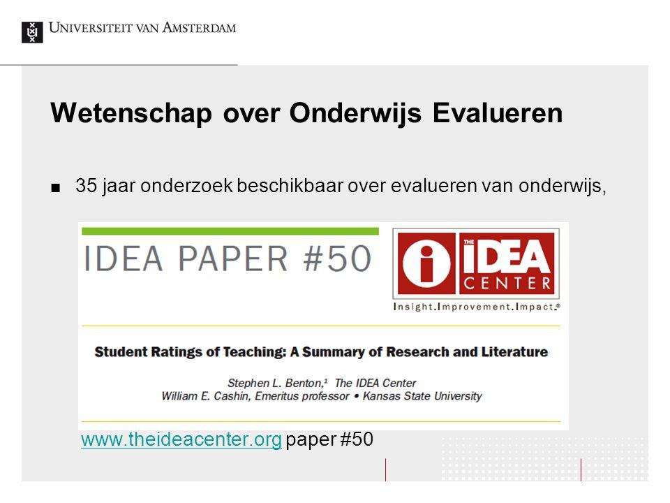 Wetenschap over Onderwijs Evalueren 35 jaar onderzoek beschikbaar over evalueren van onderwijs, www.theideacenter.org paper #50www.theideacenter.org