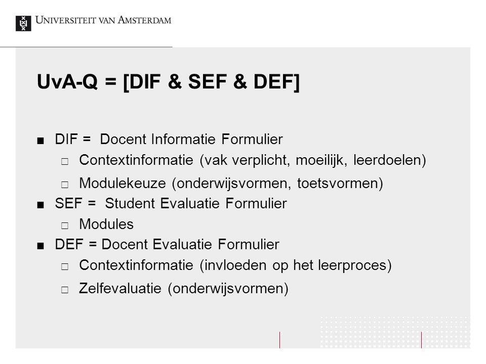 UvA-Q = [DIF & SEF & DEF] DIF = Docent Informatie Formulier  Contextinformatie (vak verplicht, moeilijk, leerdoelen)  Modulekeuze (onderwijsvormen, toetsvormen) SEF = Student Evaluatie Formulier  Modules DEF = Docent Evaluatie Formulier  Contextinformatie (invloeden op het leerproces)  Zelfevaluatie (onderwijsvormen)