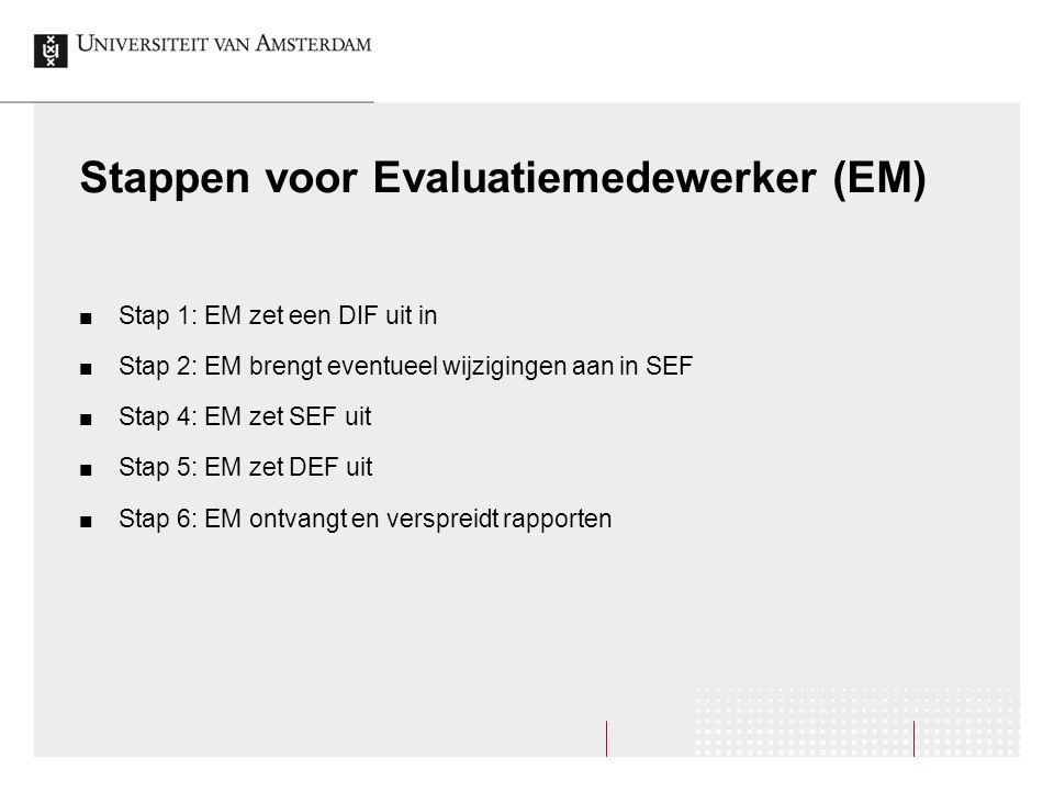 Stappen voor Evaluatiemedewerker (EM) Stap 1: EM zet een DIF uit in Stap 2: EM brengt eventueel wijzigingen aan in SEF Stap 4: EM zet SEF uit Stap 5: EM zet DEF uit Stap 6: EM ontvangt en verspreidt rapporten