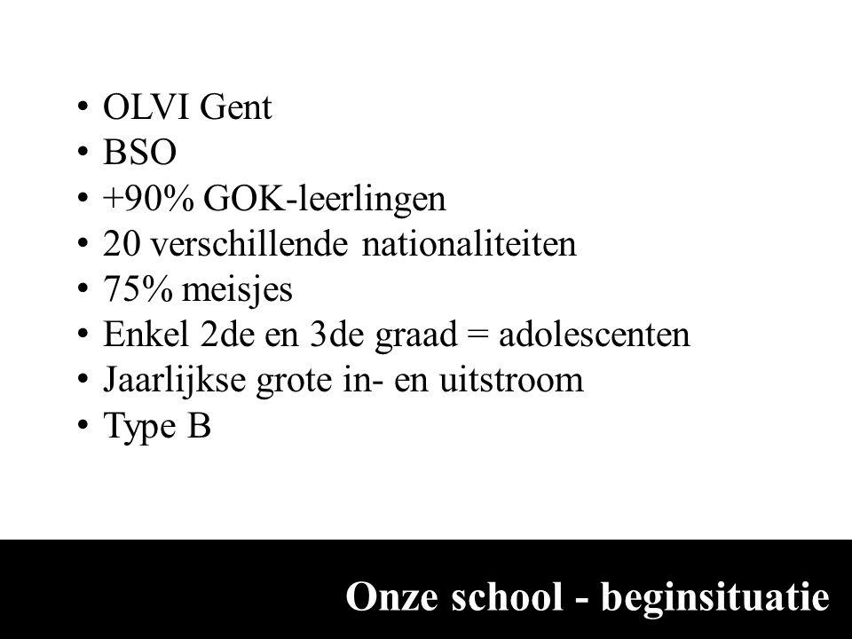 Onze school - beginsituatie OLVI Gent BSO +90% GOK-leerlingen 20 verschillende nationaliteiten 75% meisjes Enkel 2de en 3de graad = adolescenten Jaarl