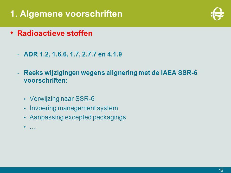 1. Algemene voorschriften Radioactieve stoffen -ADR 1.2, 1.6.6, 1.7, 2.7.7 en 4.1.9 -Reeks wijzigingen wegens alignering met de IAEA SSR-6 voorschrift