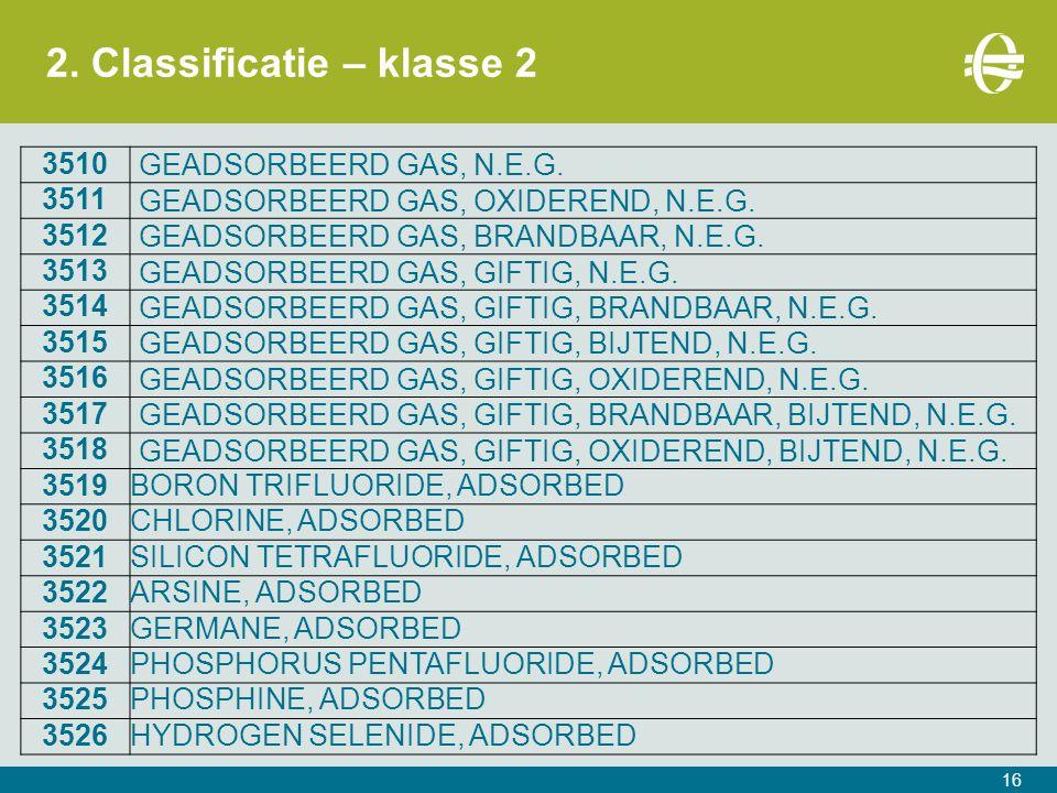 2.Classificatie – klasse 2 16 3510 GEADSORBEERD GAS, N.E.G.