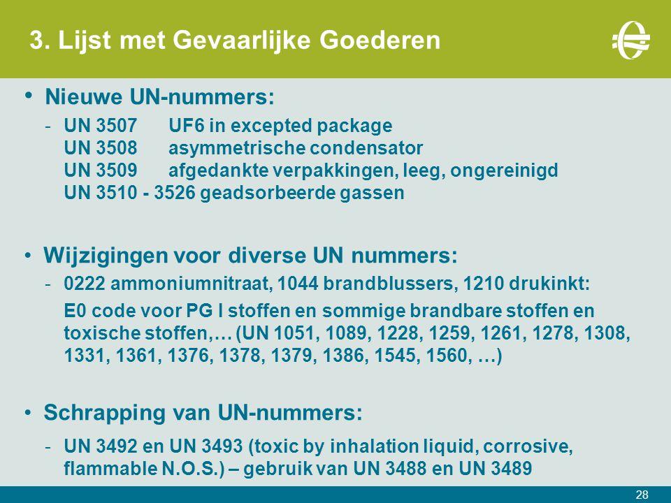 3. Lijst met Gevaarlijke Goederen 28 Nieuwe UN-nummers: -UN 3507UF6 in excepted package UN 3508asymmetrische condensator UN 3509afgedankte verpakkinge