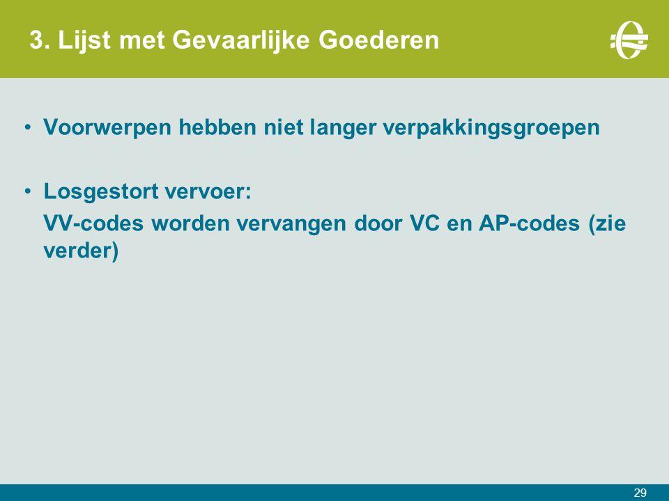 3. Lijst met Gevaarlijke Goederen 29 Voorwerpen hebben niet langer verpakkingsgroepen Losgestort vervoer: VV-codes worden vervangen door VC en AP-code