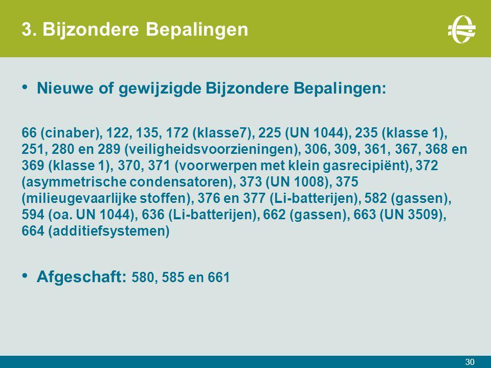 3. Bijzondere Bepalingen 30 Nieuwe of gewijzigde Bijzondere Bepalingen: 66 (cinaber), 122, 135, 172 (klasse7), 225 (UN 1044), 235 (klasse 1), 251, 280