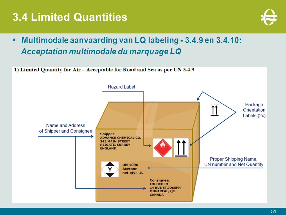3.4 Limited Quantities 51 Multimodale aanvaarding van LQ labeling - 3.4.9 en 3.4.10: Acceptation multimodale du marquage LQ