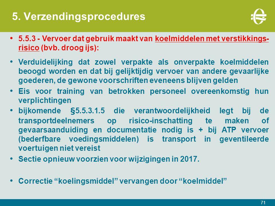 5. Verzendingsprocedures 71 5.5.3 - Vervoer dat gebruik maakt van koelmiddelen met verstikkings- risico (bvb. droog ijs): Verduidelijking dat zowel ve