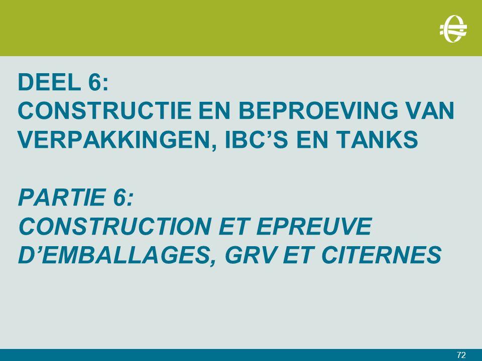 DEEL 6: CONSTRUCTIE EN BEPROEVING VAN VERPAKKINGEN, IBC'S EN TANKS PARTIE 6: CONSTRUCTION ET EPREUVE D'EMBALLAGES, GRV ET CITERNES 72