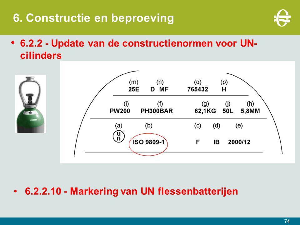 6. Constructie en beproeving 74 6.2.2 - Update van de constructienormen voor UN- cilinders 6.2.2.10 - Markering van UN flessenbatterijen