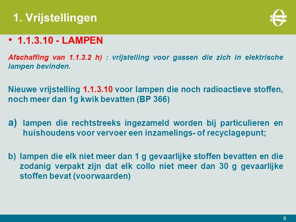 1. Vrijstellingen 1.1.3.10 - LAMPEN Afschaffing van 1.1.3.2 h) : vrijstelling voor gassen die zich in elektrische lampen bevinden. Nieuwe vrijstelling