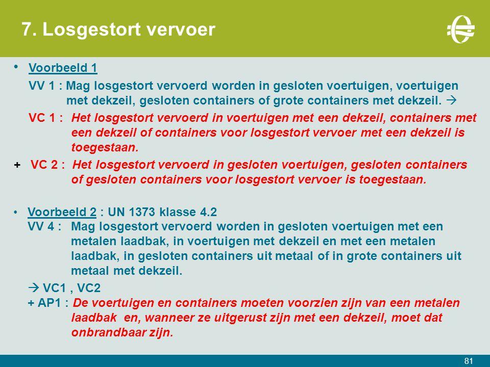 7. Losgestort vervoer 81 Voorbeeld 1 VV 1 : Mag losgestort vervoerd worden in gesloten voertuigen, voertuigen met dekzeil, gesloten containers of grot