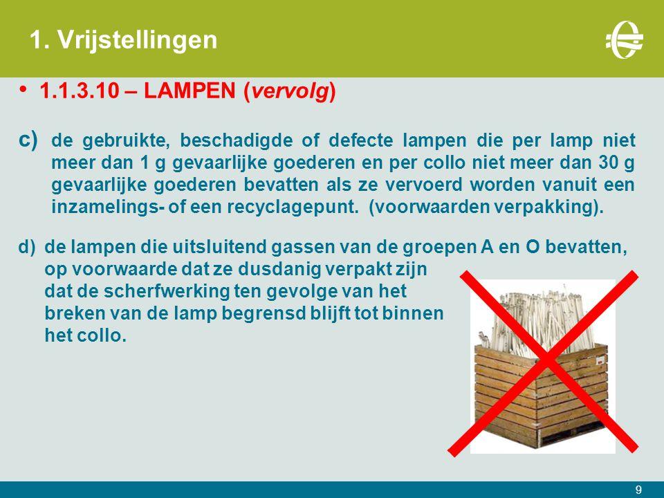 1. Vrijstellingen 1.1.3.10 – LAMPEN (vervolg) c) de gebruikte, beschadigde of defecte lampen die per lamp niet meer dan 1 g gevaarlijke goederen en pe
