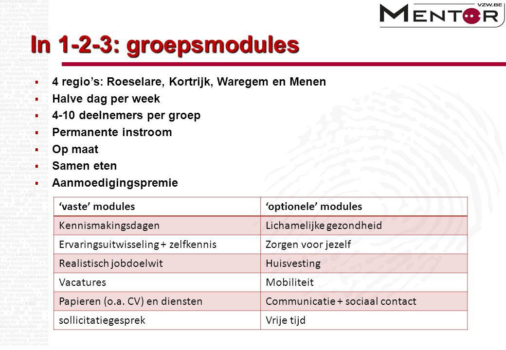 In 1-2-3: groepsmodules 'vaste' modules'optionele' modules KennismakingsdagenLichamelijke gezondheid Ervaringsuitwisseling + zelfkennisZorgen voor jez