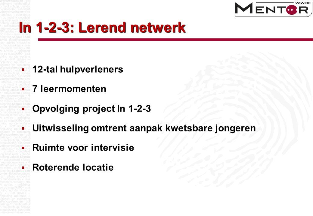 In 1-2-3: Lerend netwerk  12-tal hulpverleners  7 leermomenten  Opvolging project In 1-2-3  Uitwisseling omtrent aanpak kwetsbare jongeren  Ruimt