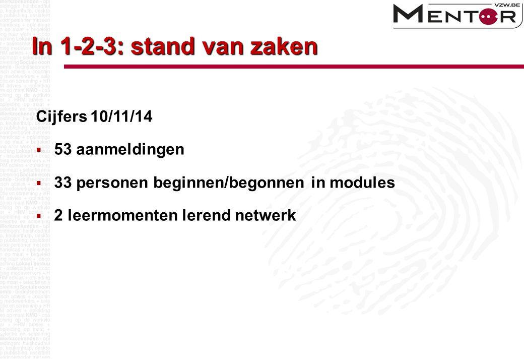 In 1-2-3: stand van zaken Cijfers 10/11/14  53 aanmeldingen  33 personen beginnen/begonnen in modules  2 leermomenten lerend netwerk