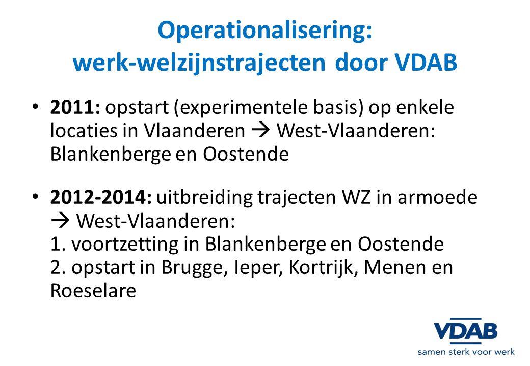 Operationalisering: werk-welzijnstrajecten door VDAB 2011: opstart (experimentele basis) op enkele locaties in Vlaanderen  West-Vlaanderen: Blankenbe
