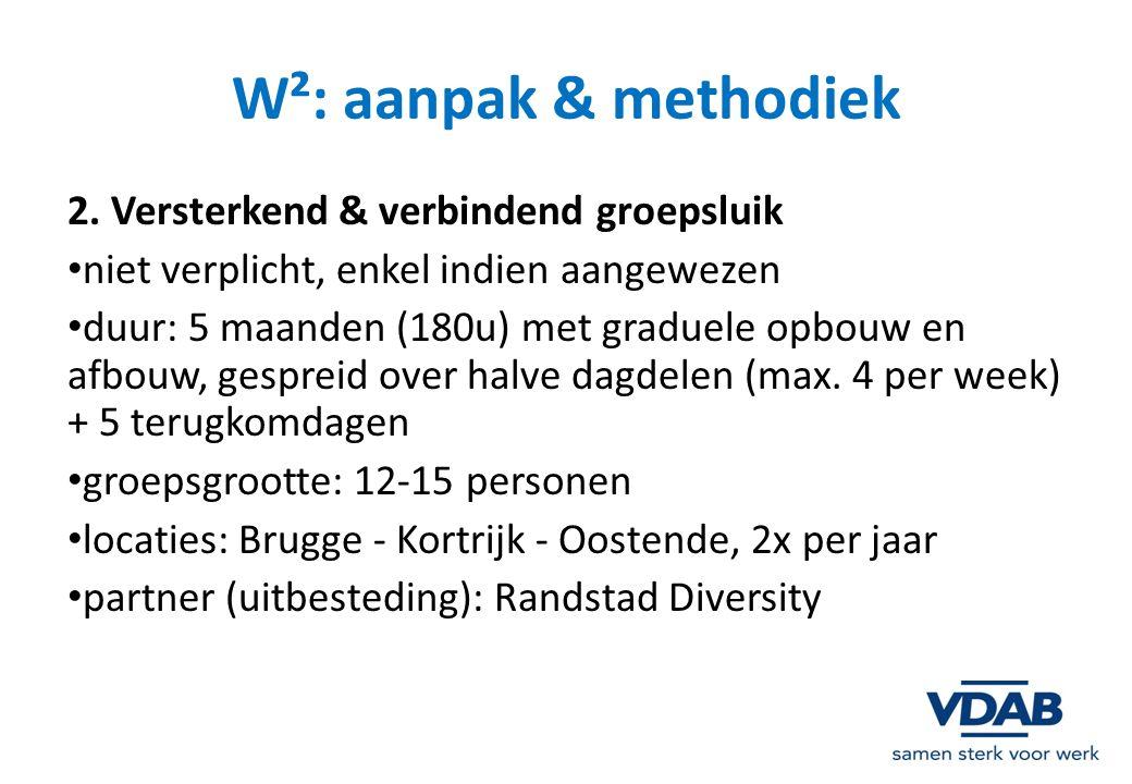 W²: aanpak & methodiek 2. Versterkend & verbindend groepsluik niet verplicht, enkel indien aangewezen duur: 5 maanden (180u) met graduele opbouw en af