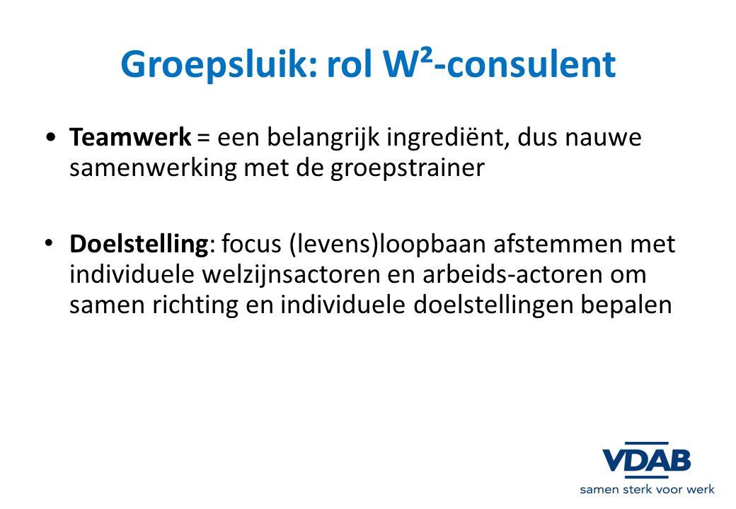 Groepsluik: rol W²-consulent Teamwerk = een belangrijk ingrediënt, dus nauwe samenwerking met de groepstrainer Doelstelling: focus (levens)loopbaan af