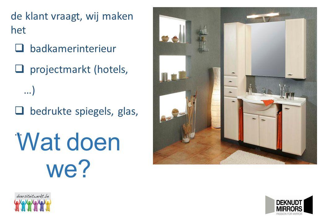 Wat doen we? de klant vraagt, wij maken het  badkamerinterieur  projectmarkt (hotels, …)  bedrukte spiegels, glas, …